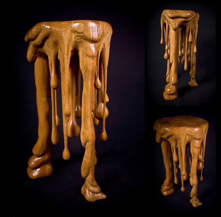 melting wooden table by british artist rob smith horrific finds. Black Bedroom Furniture Sets. Home Design Ideas