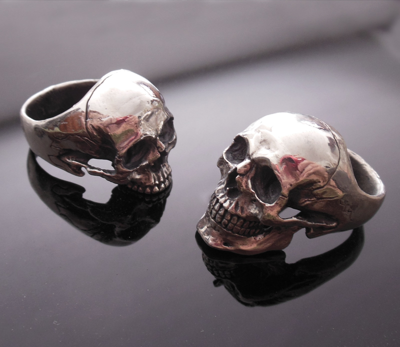 halo four skull wedding ring set skull engagement ring combo with