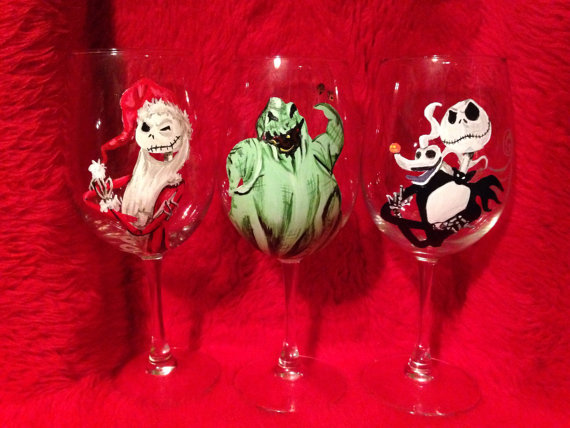Nightmare Before Christmas Painted Wine Glasses Horrific Finds